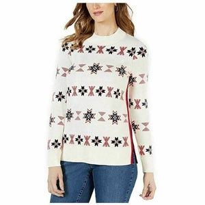 Charter Club Medium Ivory Snowflake Sweater 4AA21